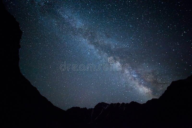 Night sky in mountains stock photos
