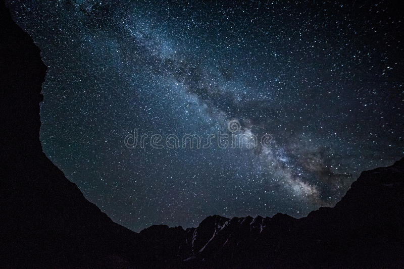 Night sky in mountains royalty free stock photo