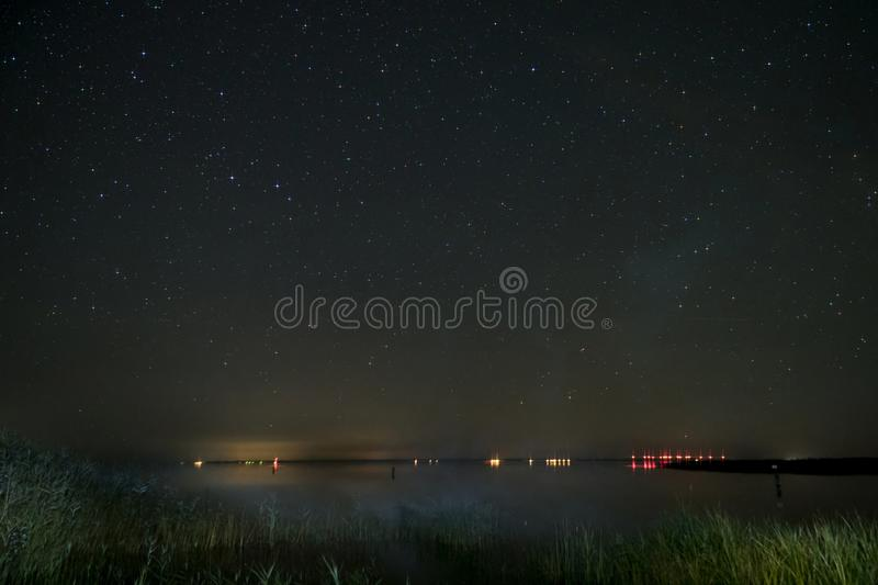 Night Sky over Fischland. In Germany royalty free stock photos
