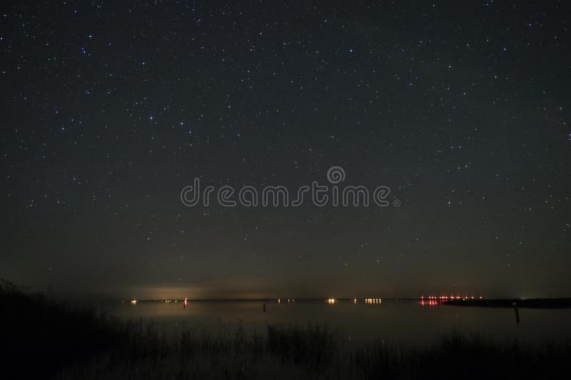 Night Sky over Fischland. In Germany stock images