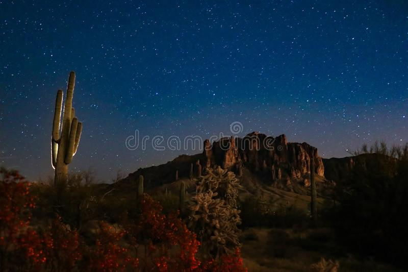 Night Sky Over Superstition Mountains. Night picture of the sky full of stars over the mountains. Picture was taken in front of the Superstition Mountains in the royalty free stock photography
