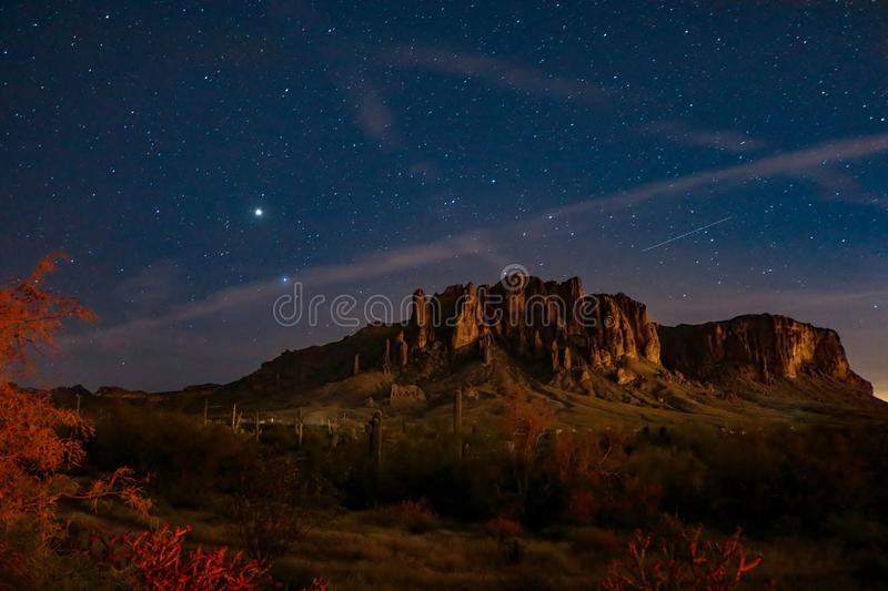 Night Sky Over Superstition Mountains. Night picture of the sky full of stars over the mountains. Picture was taken in front of the Superstition Mountains in the royalty free stock photos