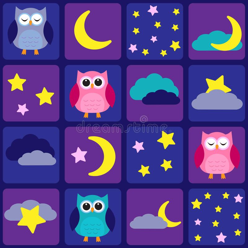 Download Night sky with owls stock vector. Image of cute, moon - 26075250