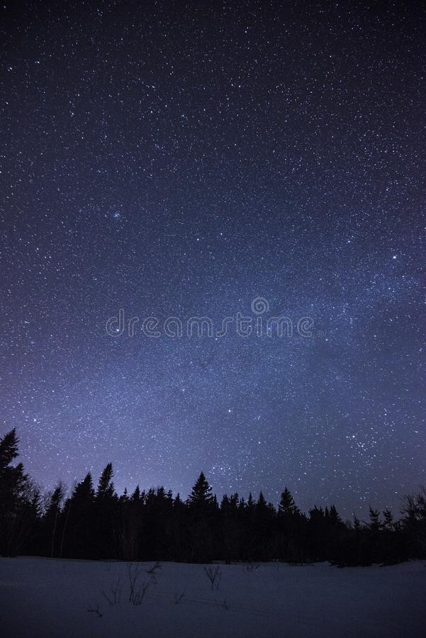 Night sky in Perce Quebec stock image