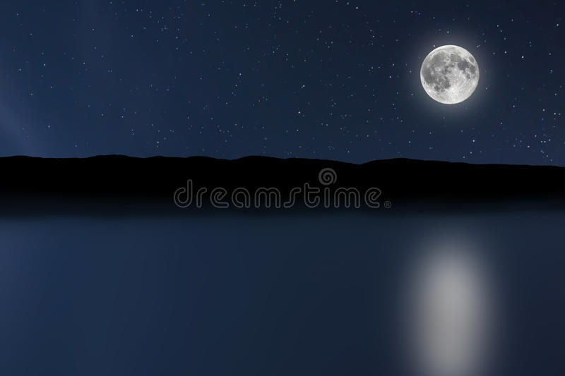 Night sky river background with moon and stars. Full moon. royalty free stock images