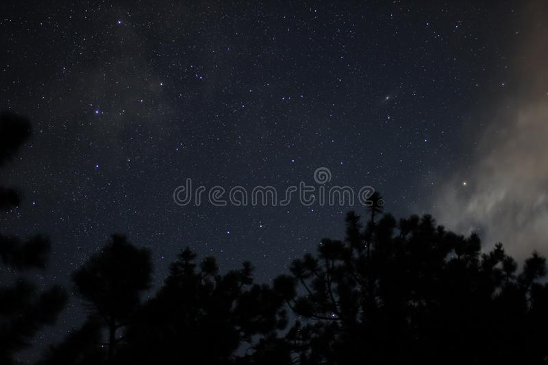 Night Sky in Rocky Mountain National Park stock image