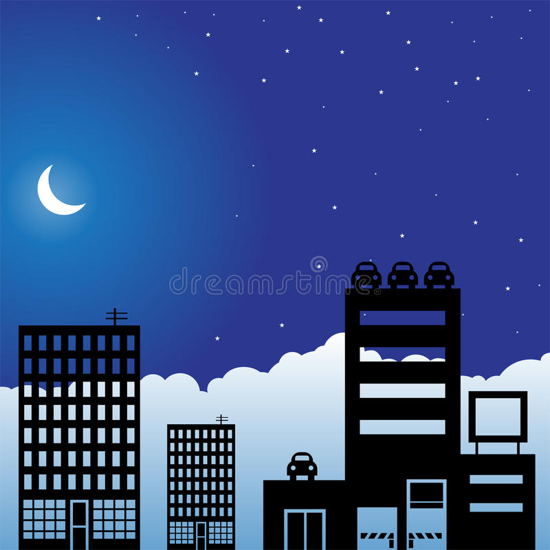 Download Night Sky Scene - City stock vector. Illustration of blue - 10255557