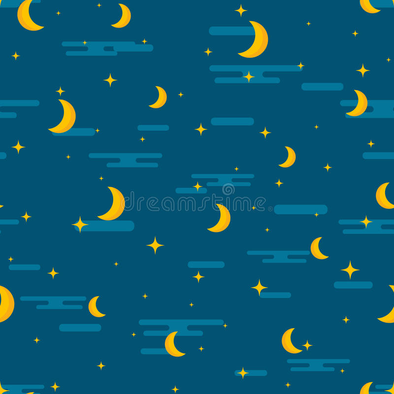 Night sky seamless pattern design. Moon, stars and clouds repetitive print. Children or kids lullaby repeating background for tex royalty free illustration