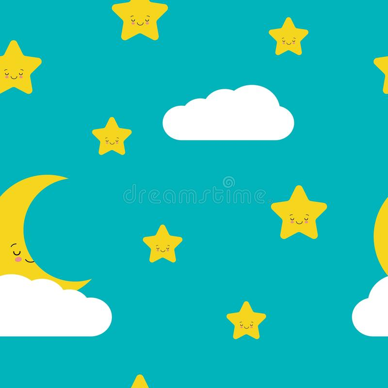 Night sky seamless pattern in vector. Cute stars. moon and cloud with smiling faces stock illustration