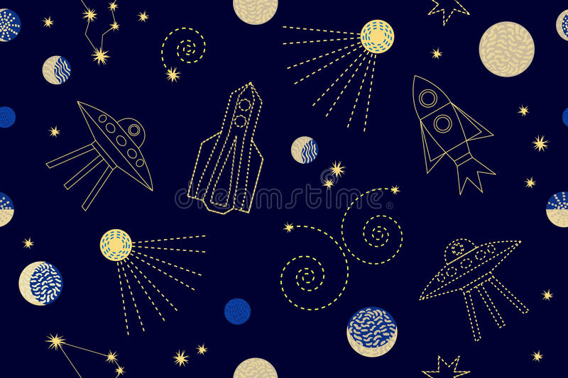 Night sky. Seamless vector pattern with constellations, rockets, space ships, sp. 1950s-1960s motifs. Retro textile collection. Golden on dark