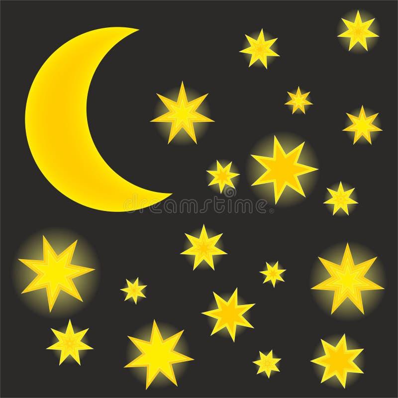 Night sky with shining stars. Night sky with moon and shining stars vector illustration