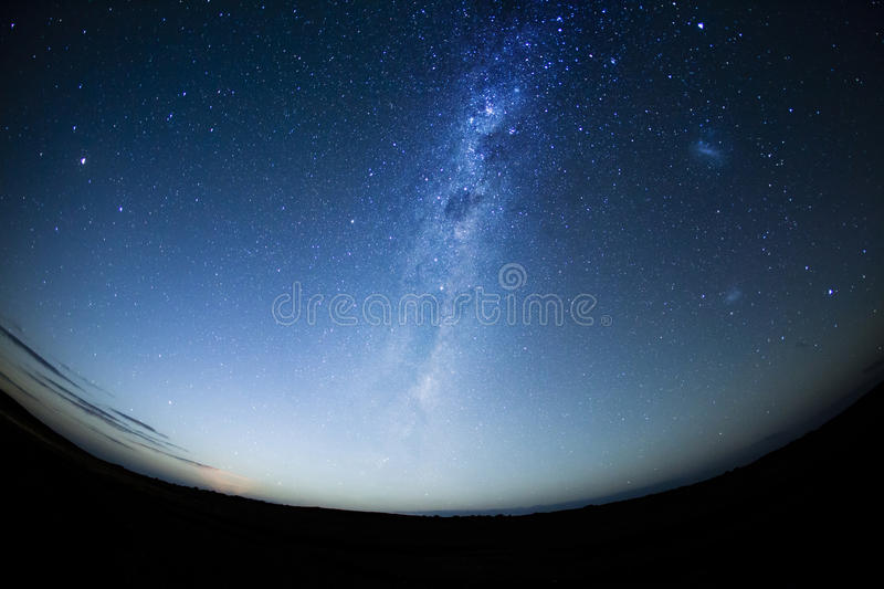 Night sky in the Southern hemisphere with milkway. At moonrise royalty free stock photography