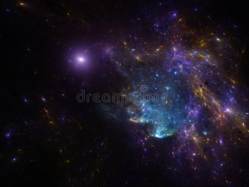 Night sky scape background with nebula and galaxies. Deep space image with nebula and galaxies as background and texture for creating space scape royalty free illustration