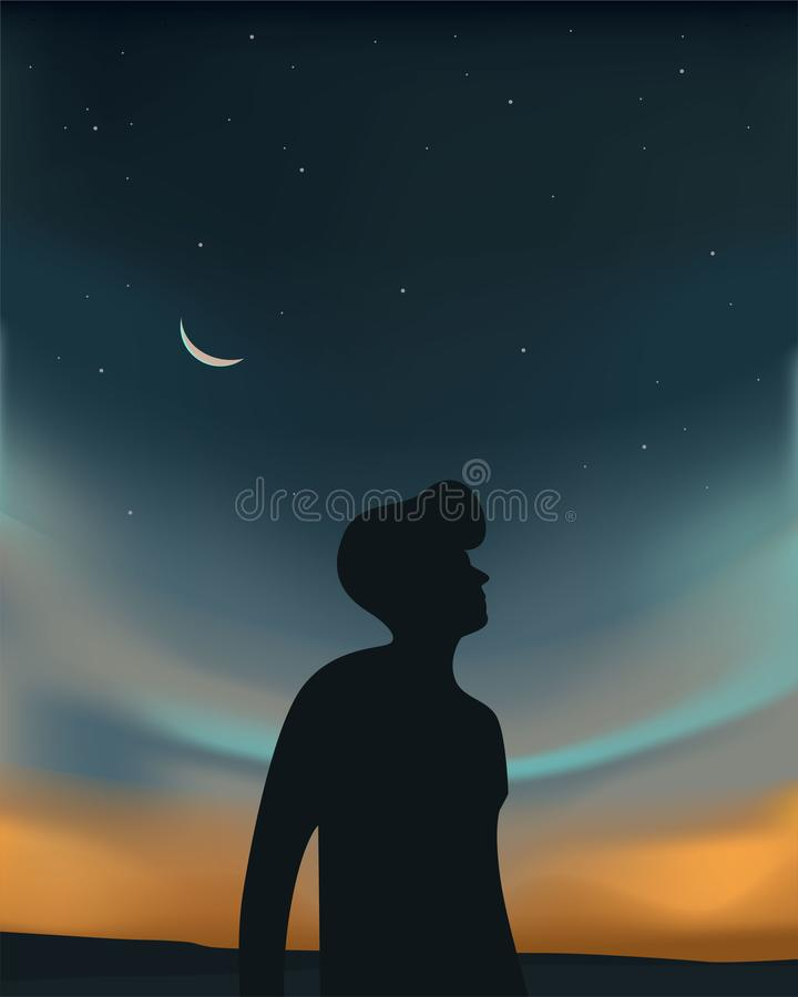 Night Sky with Starlight and Moon with silhouettes of people royalty free illustration