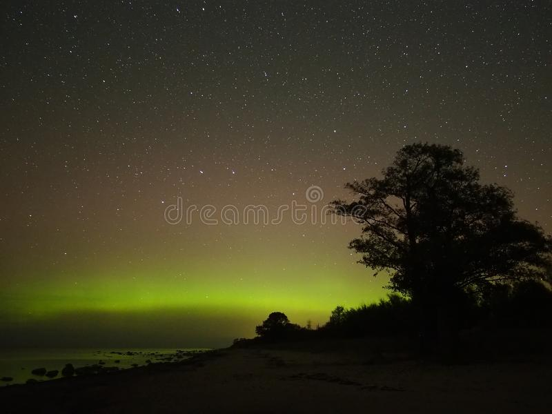 Night sky stars aurora polar lights big dipper constellation observing. Aurora polar lights observing over sea stock photography