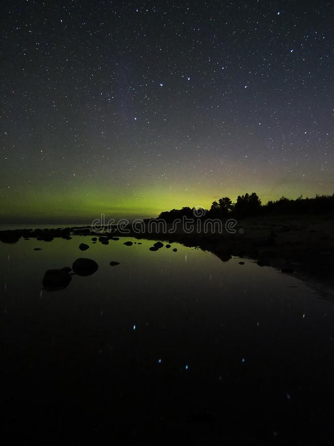 Night sky stars aurora polar lights big dipper constellation observing royalty free stock photos