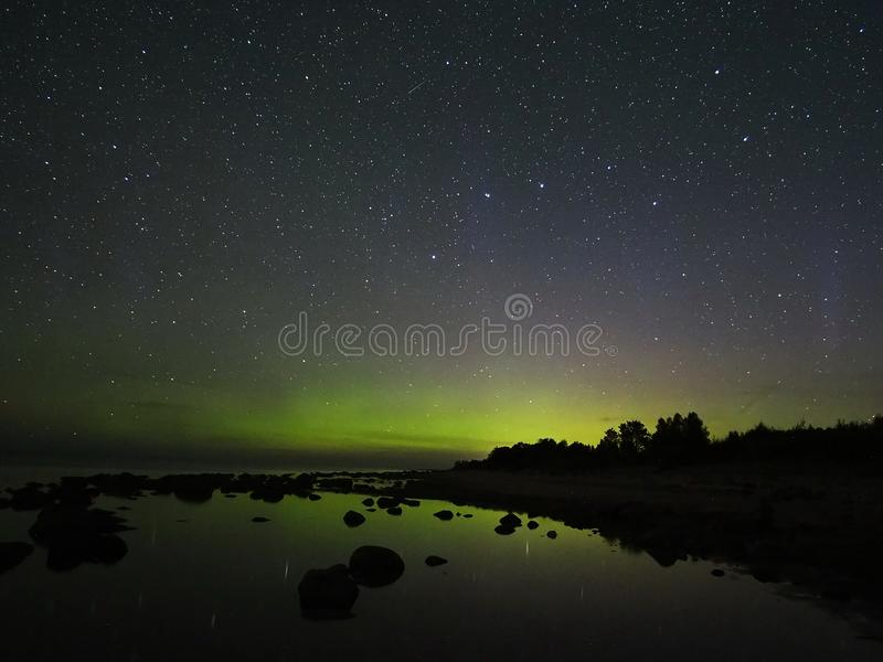 Night sky stars aurora polar lights big dipper constellation observing stock photography