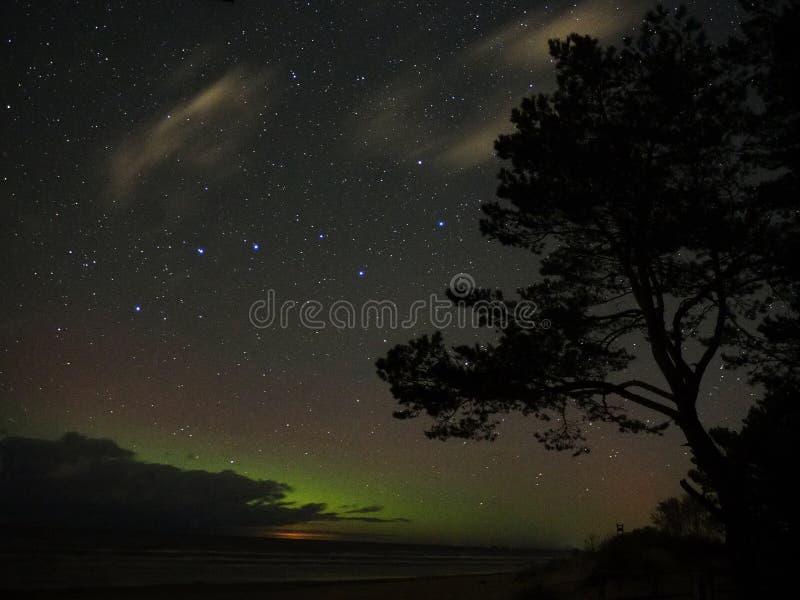 Night sky stars aurora northern polar lights big dipper constellation observing stock image