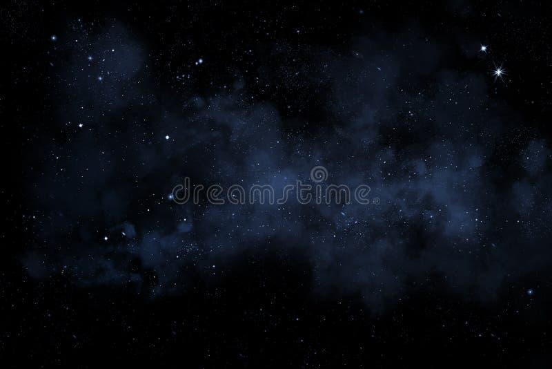 Night sky with stars and blue nebula stock illustration