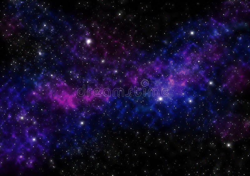 Download Night Sky With Stars And Blue Purple Nebula Space Background Stock Illustration