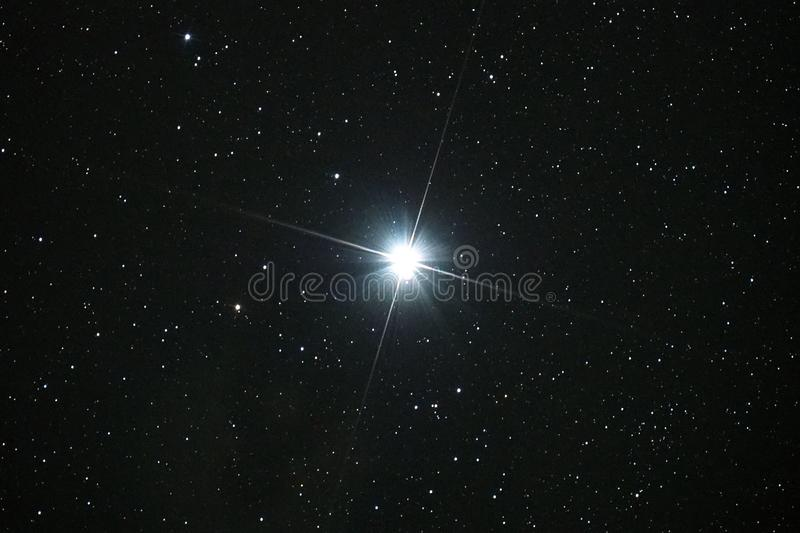 Night sky stars and Capella star observing. Night sky stars, and Capella star observing over telescope SW N200 in Auriga constellation royalty free stock photography
