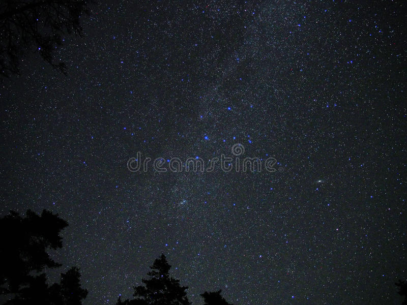 Milky Way stars cassiopeia constellation Andromeda galaxy M31 stock images