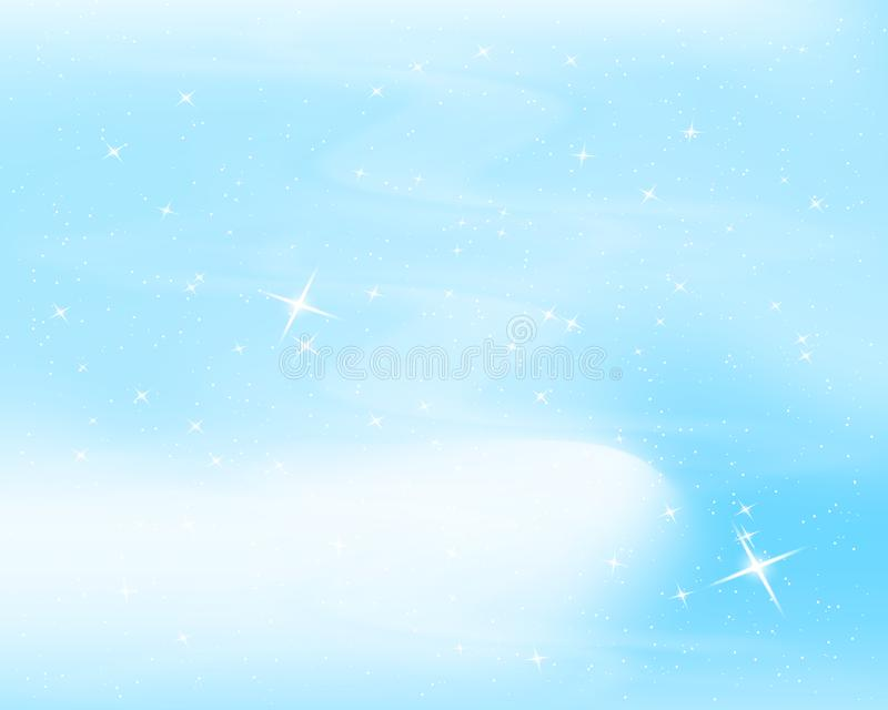 Night sky with stars and clouds. Sparkle starry blue background. Nice design for baby room. Vector illustration. stock illustration