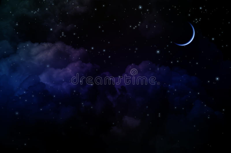 Night Sky with Stars and Clouds. Thin arc moon. Dark blue tint royalty free stock photo
