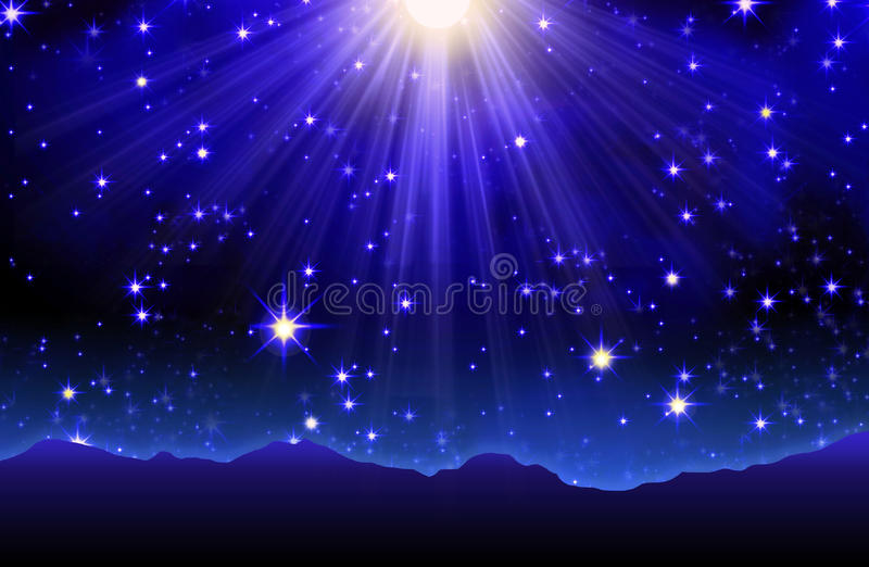Night sky with stars. Deep blue night sky filled with stars