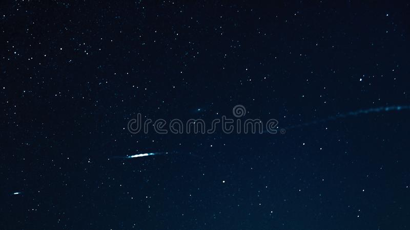 Night sky with stars and galaxy in outer space, universe background stock image