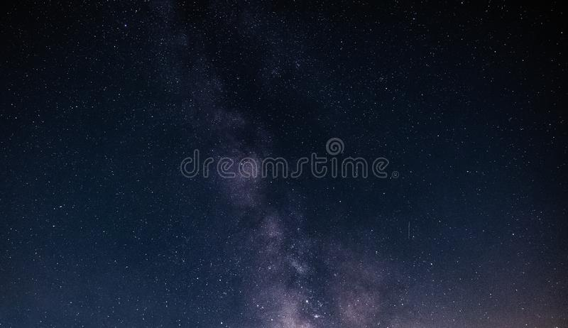 Night sky with stars and galaxy in outer space, universe background royalty free stock images