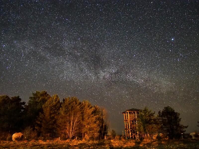 Night sky stars and  milky way panoram royalty free stock images