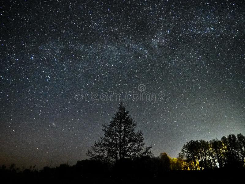 Night sky stars and milky way observing, Perseus and Andromeda constellations royalty free stock image