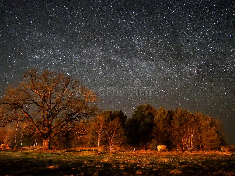 Night sky stars and  milky way panoram royalty free stock image