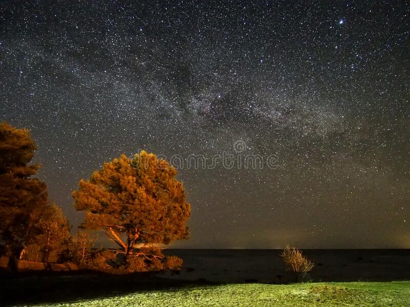Night sky stars and  milky way panoram stock photography