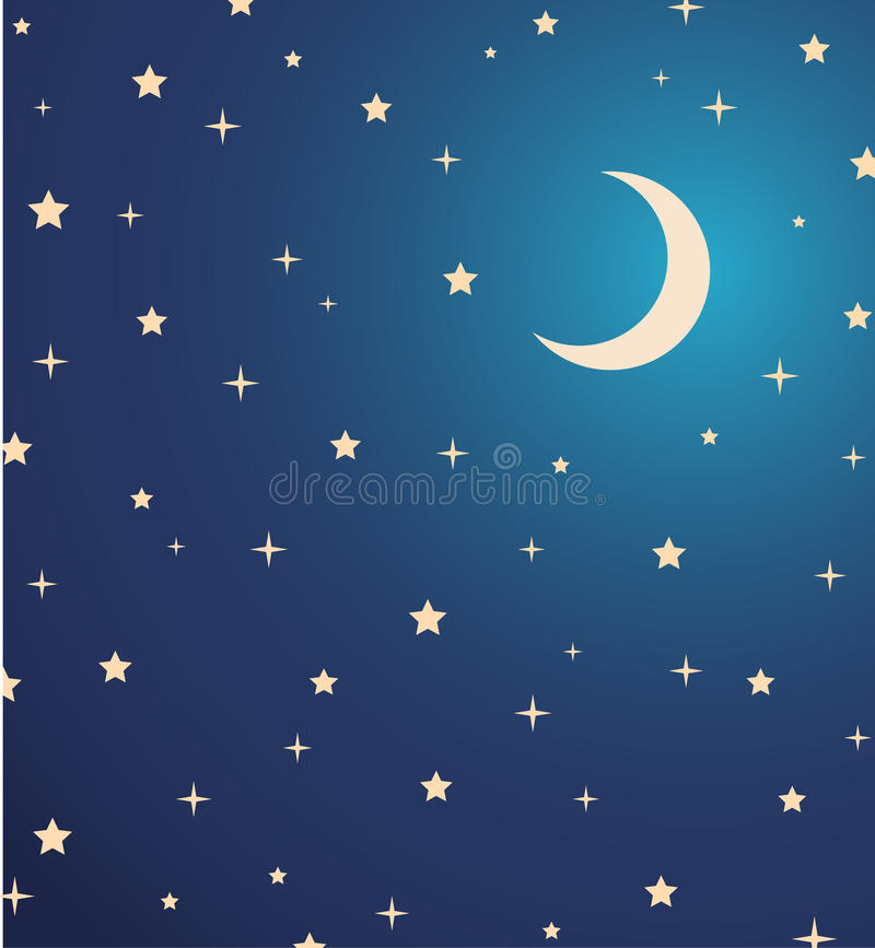 Night sky with stars and moon. illustration royalty free illustration