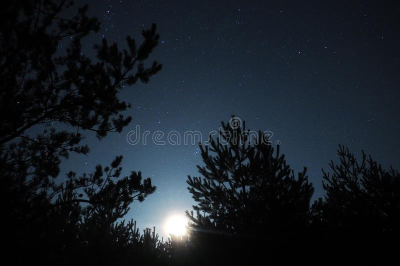 Night sky stars, Moon light and Pleiades observing royalty free stock photos