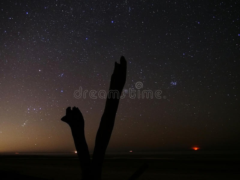Universe and night sky stars observation stock image