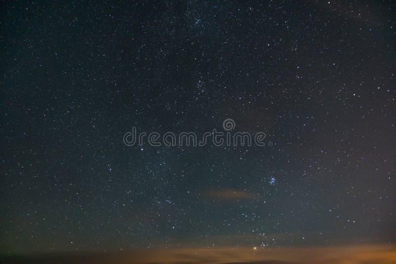 Night sky and stars. Longexposure stock photo
