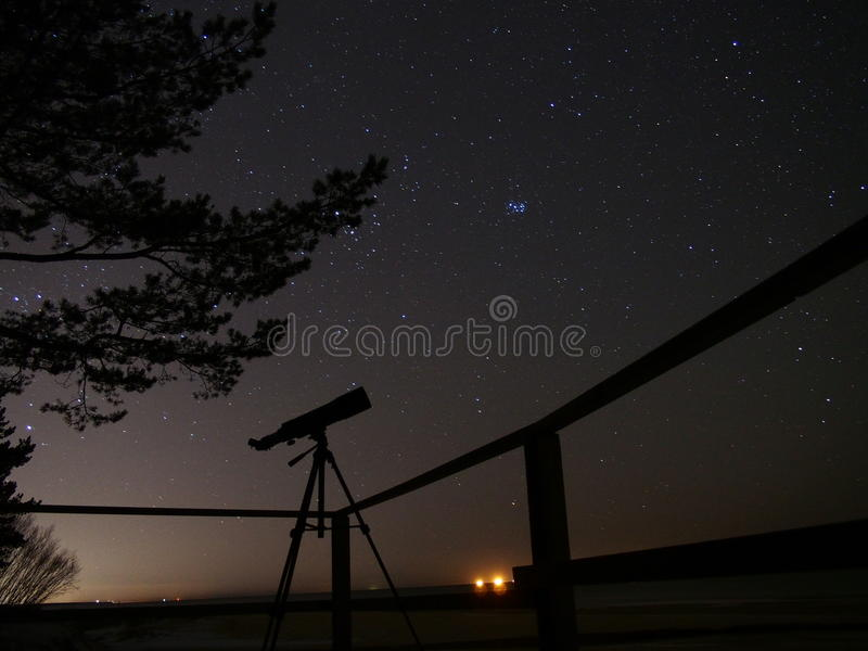 Night sky stars observation in telescope stock photos