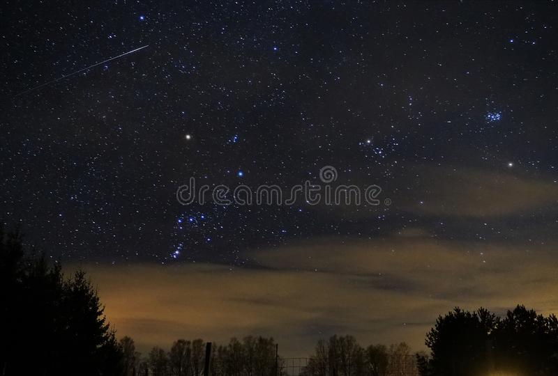 Night sky stars, Orion constellation Meteor Pleiades star cluster. Night sky stars stock photography