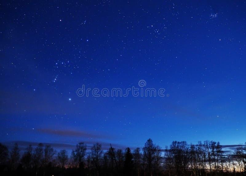 Night sky stars, Orion and Taurus constellation Pleiades Mars royalty free stock photos