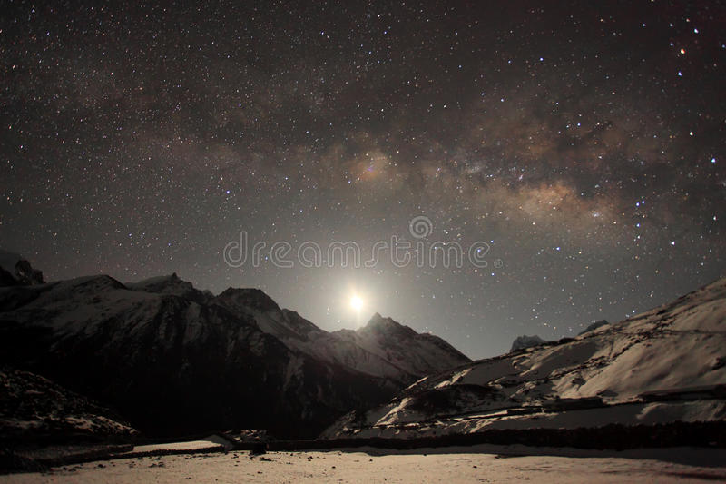 Night sky and stars passing by behind mountain Taboche, Cholatse, Machhermo village. Nepal stock photography