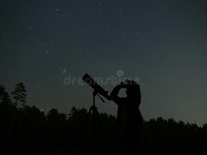 Night sky stars observing. Night sky stars and observing in the binocular and telescope stock photos