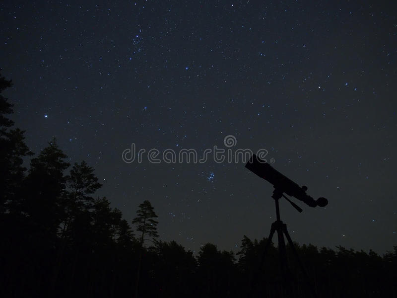 Night sky stars observation. In telescope stock photography