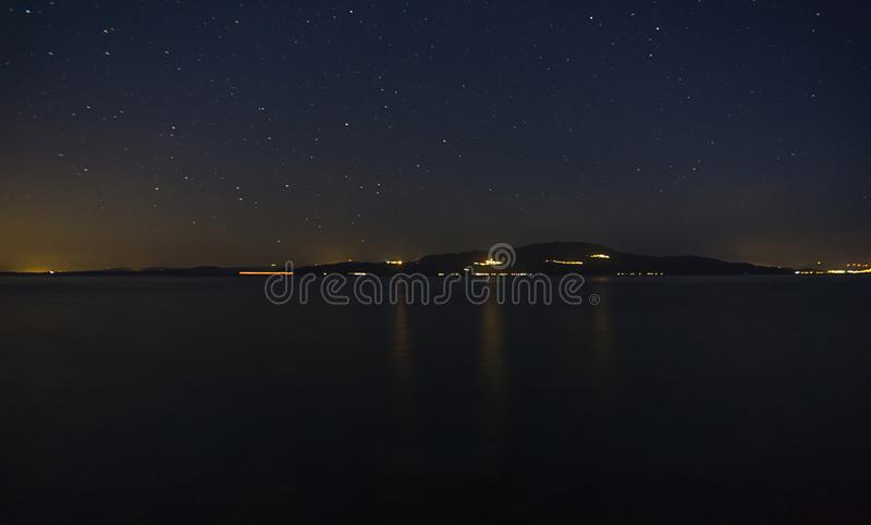 NIght sky with stars, view of island mykonos stock images