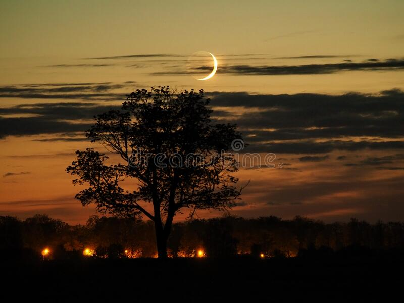 Night sky after sunset moon rising observing royalty free stock photo