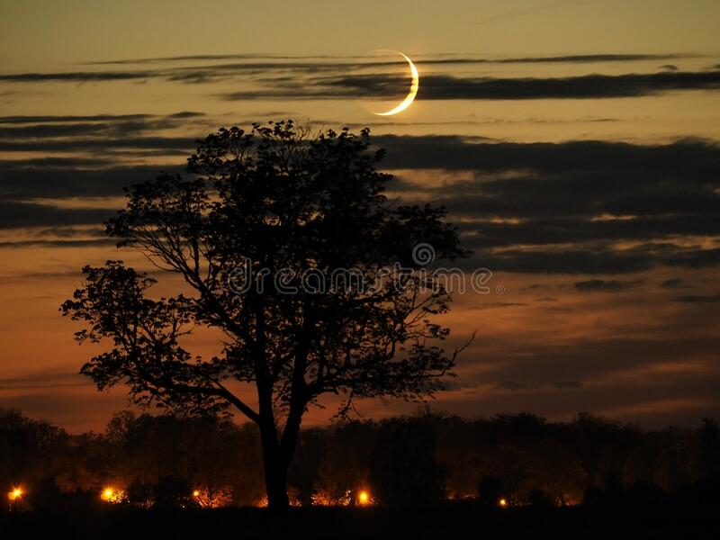 Night sky after sunset moon rising observing royalty free stock photos