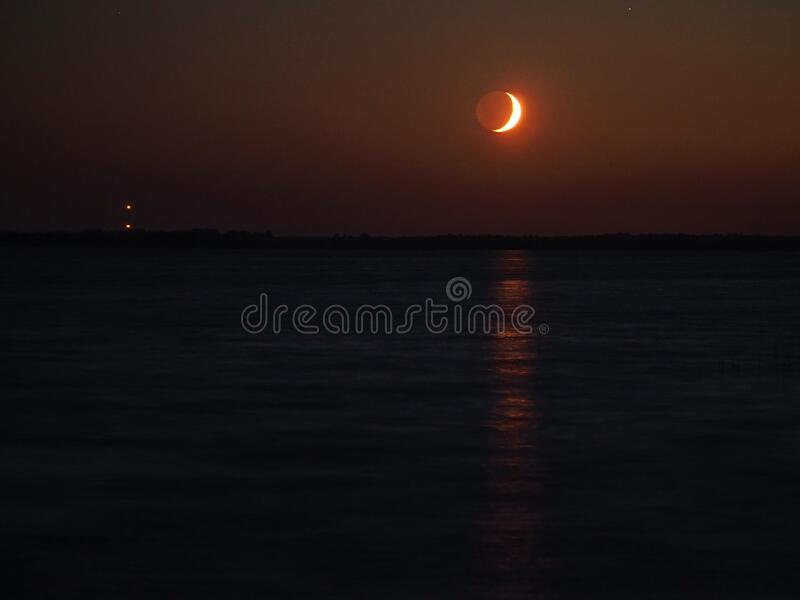 Night sky after sunset moon rising observing stock image