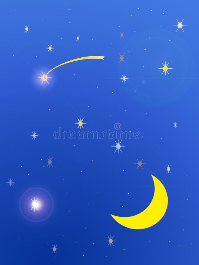 Starry night with moon and two shining stars royalty free illustration